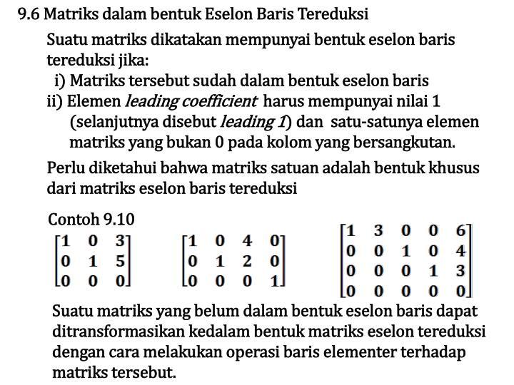 9.6 Matriks dalam bentuk Eselon Baris Tereduksi