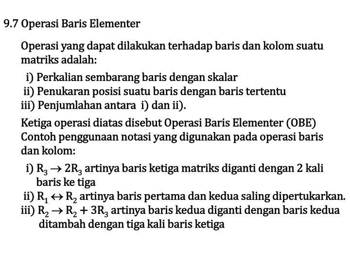 9.7 Operasi Baris Elementer