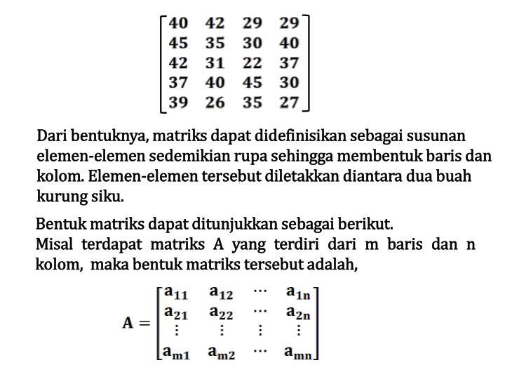 Dari bentuknya, matriks dapat didefinisikan sebagai susunan