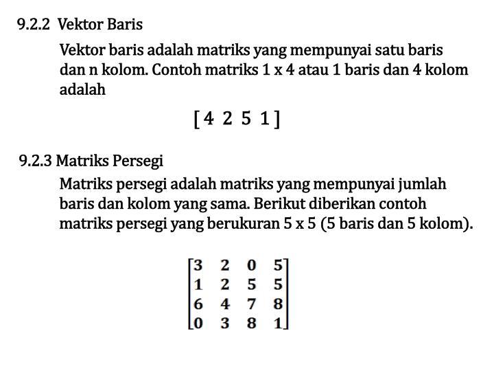 9.2.2  Vektor Baris