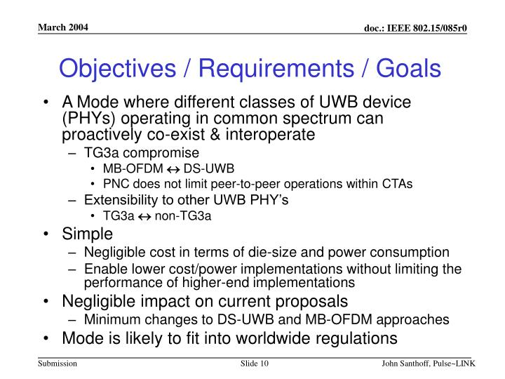 Objectives / Requirements / Goals