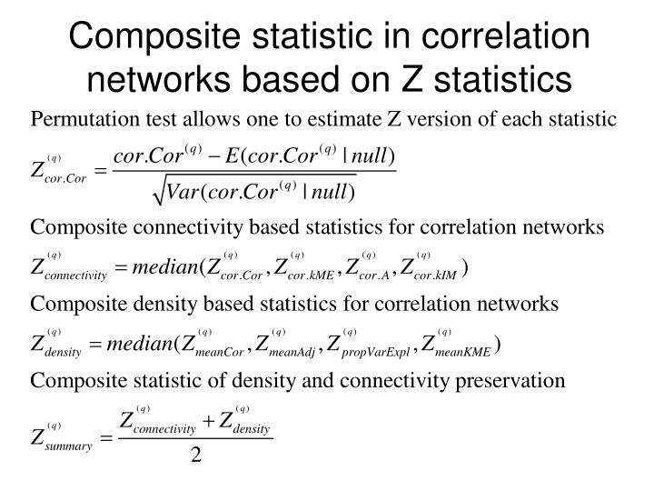Composite statistic in correlation networks based on Z statistics