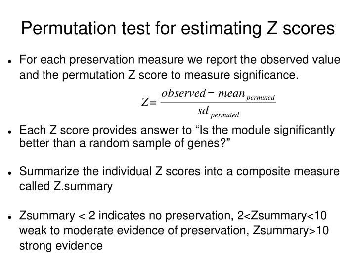Permutation test for estimating Z scores