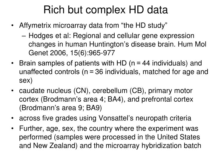 Rich but complex HD data