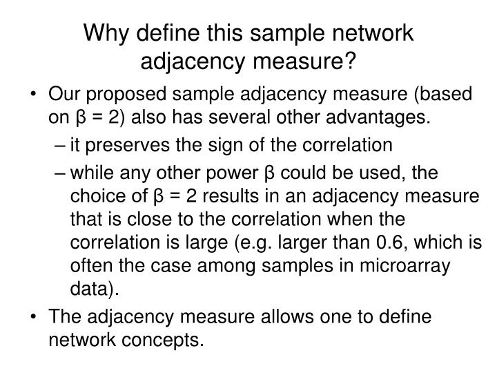 Why define this sample network adjacency measure?