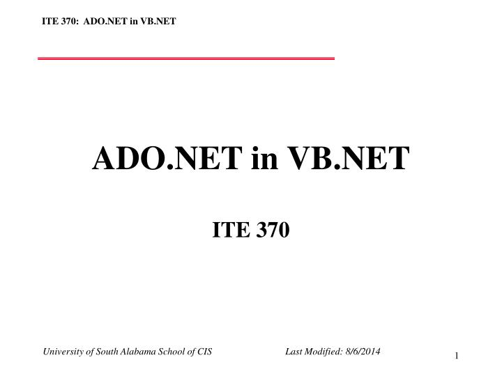 Ado net in vb net