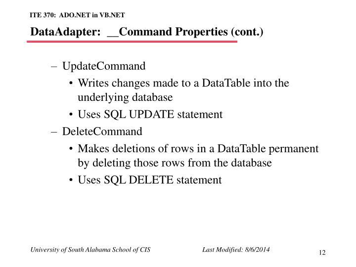 DataAdapter:  __Command Properties (cont.)