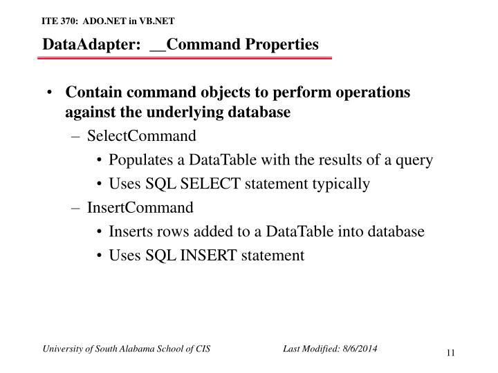 DataAdapter:  __Command Properties