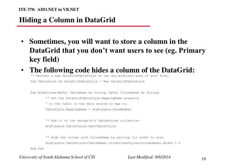 Hiding a Column in DataGrid