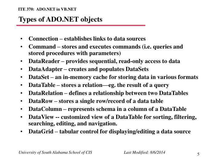 Types of ADO.NET objects