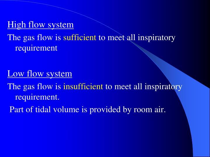 High flow system