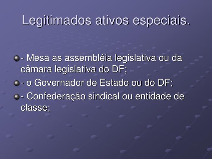 Legitimados ativos especiais.