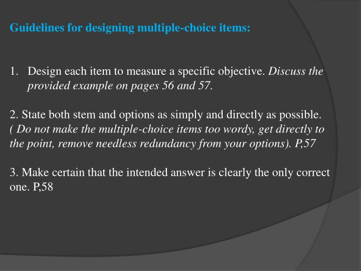 Guidelines for designing multiple-choice items: