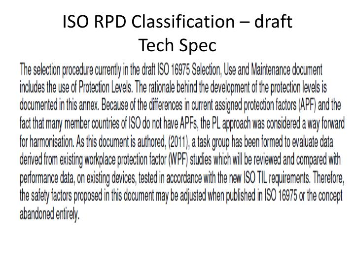ISO RPD Classification – draft