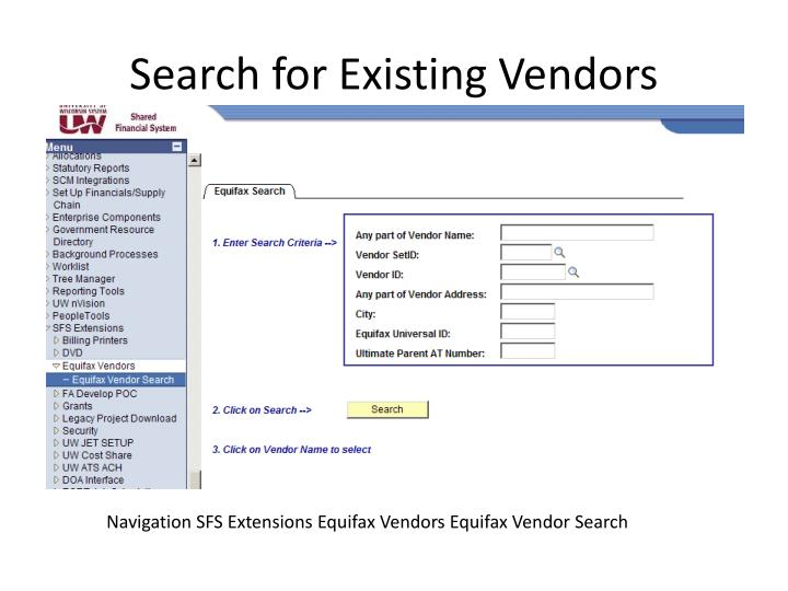 Search for Existing Vendors