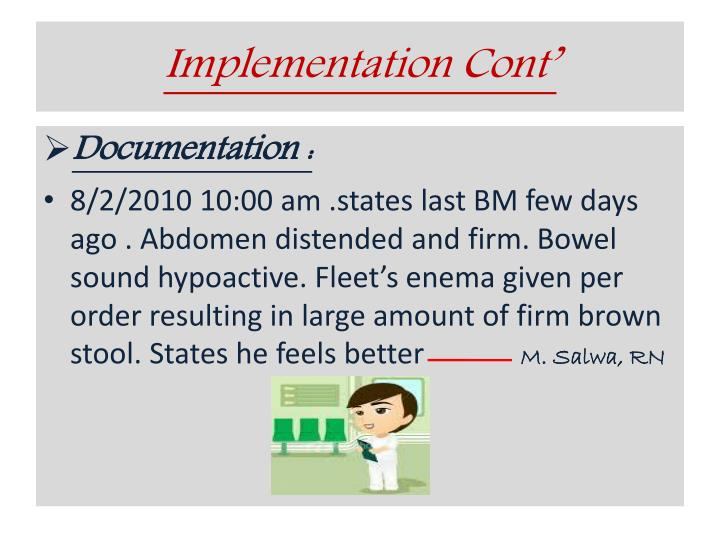 Implementation Cont'