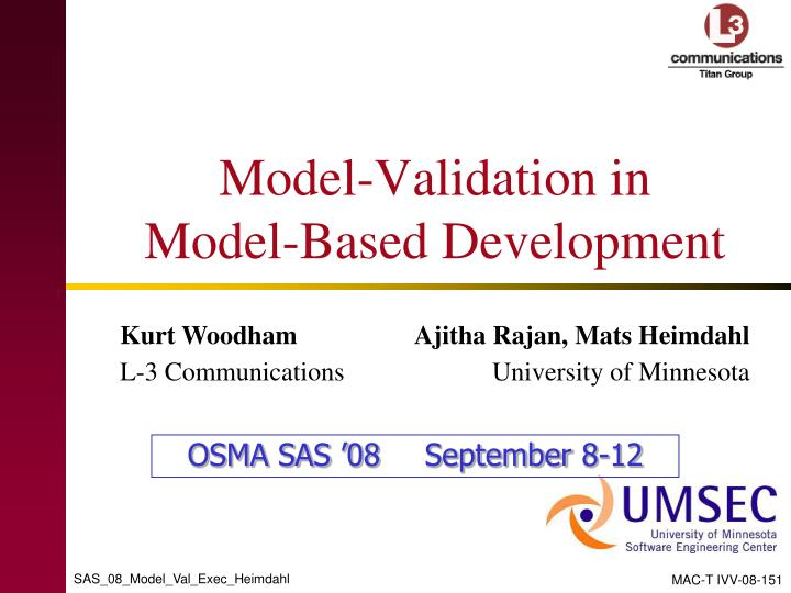 Model validation in model based development