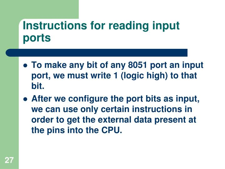 Instructions for reading input ports