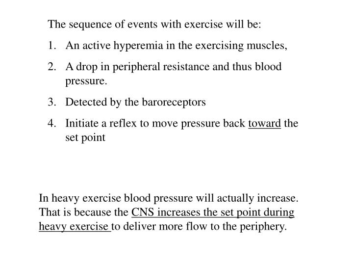 The sequence of events with exercise will be: