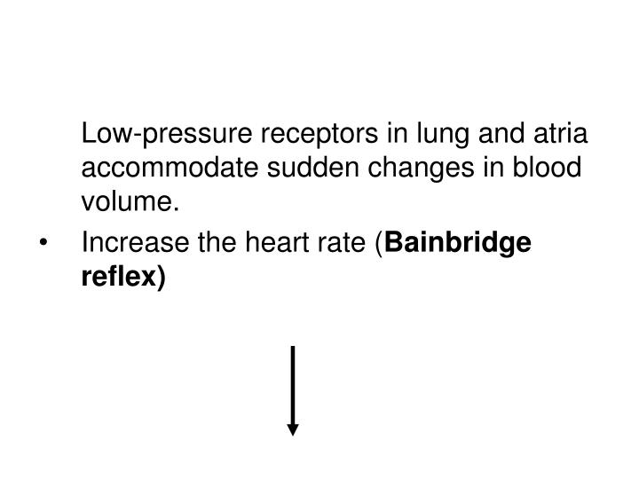 Low-pressure receptors in lung and atria accommodate sudden changes in blood volume.