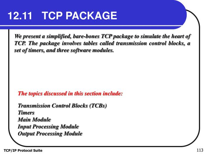 12.11   TCP PACKAGE