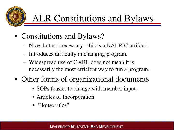 ALR Constitutions and Bylaws