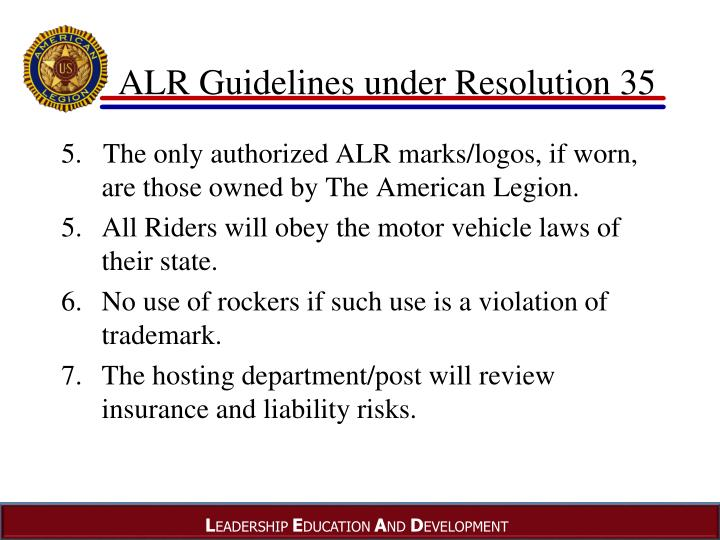 ALR Guidelines under Resolution 35