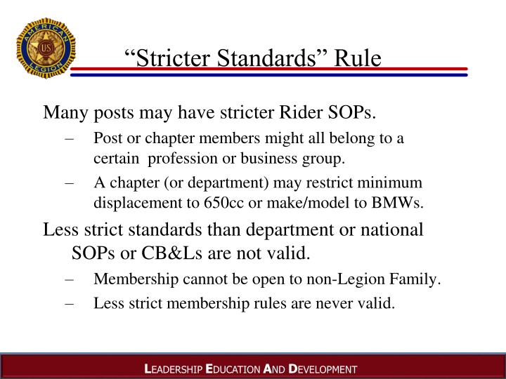 """Stricter Standards"" Rule"