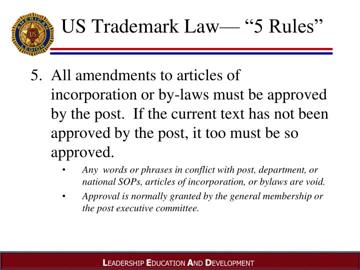 "US Trademark Law— ""5 Rules"""