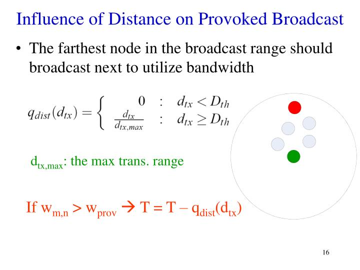 Influence of Distance on Provoked Broadcast