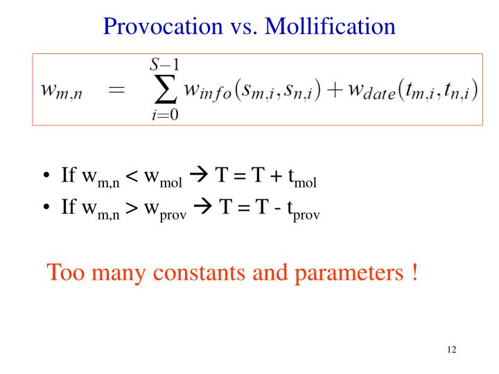 Provocation vs. Mollification