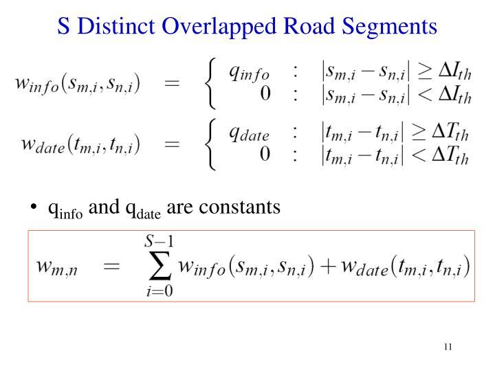 S Distinct Overlapped Road Segments