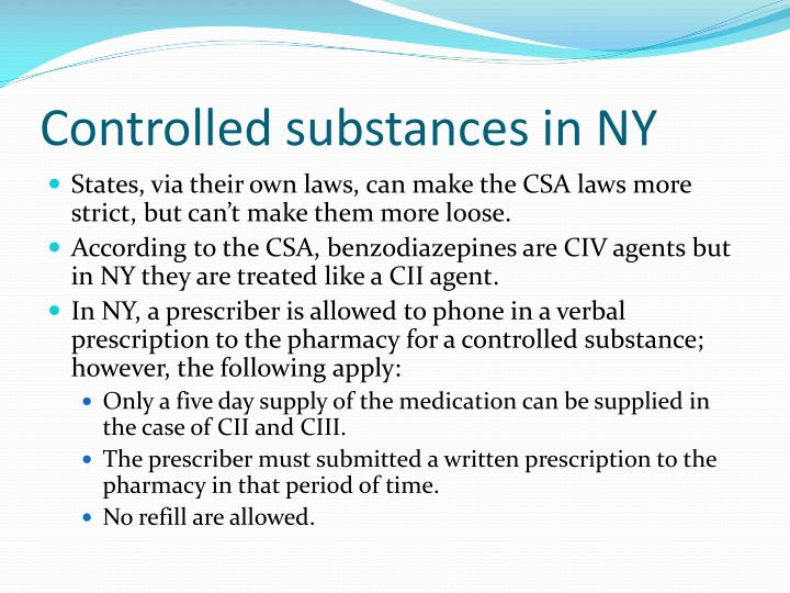 Controlled substances in NY