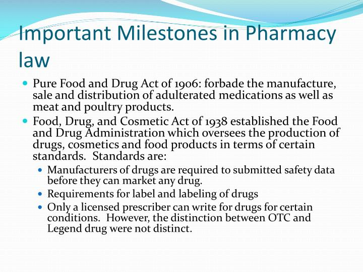 Important Milestones in Pharmacy law