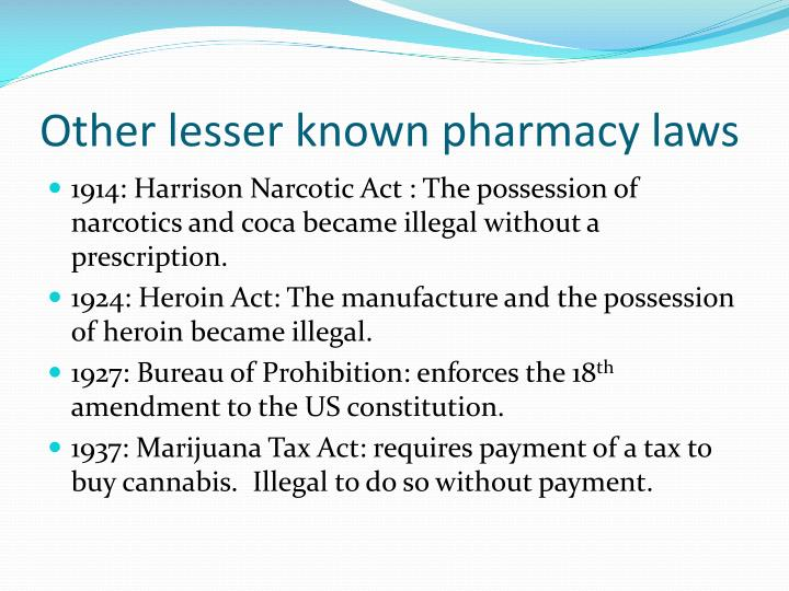 Other lesser known pharmacy laws