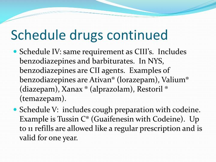 Schedule drugs continued