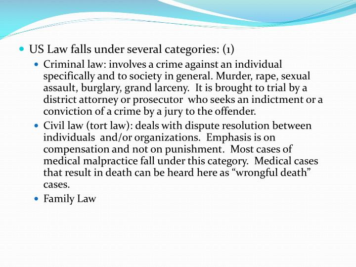 US Law falls under several categories: (1)