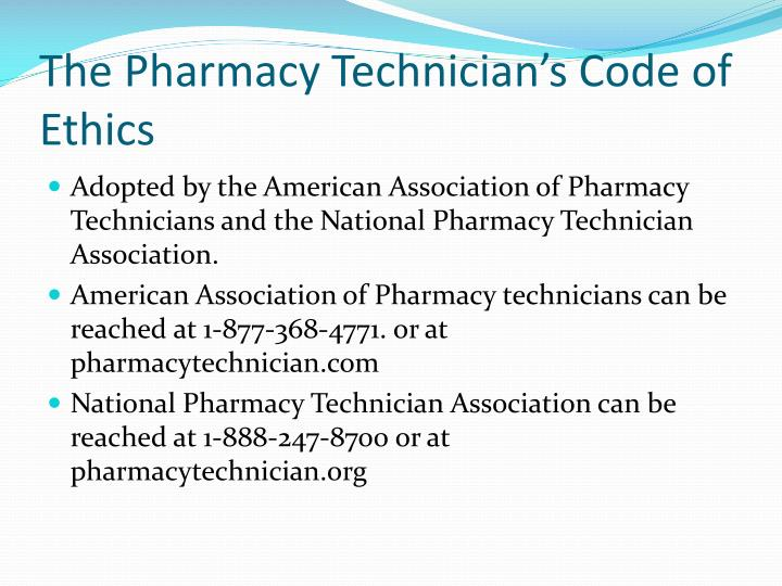The Pharmacy Technician's Code of Ethics