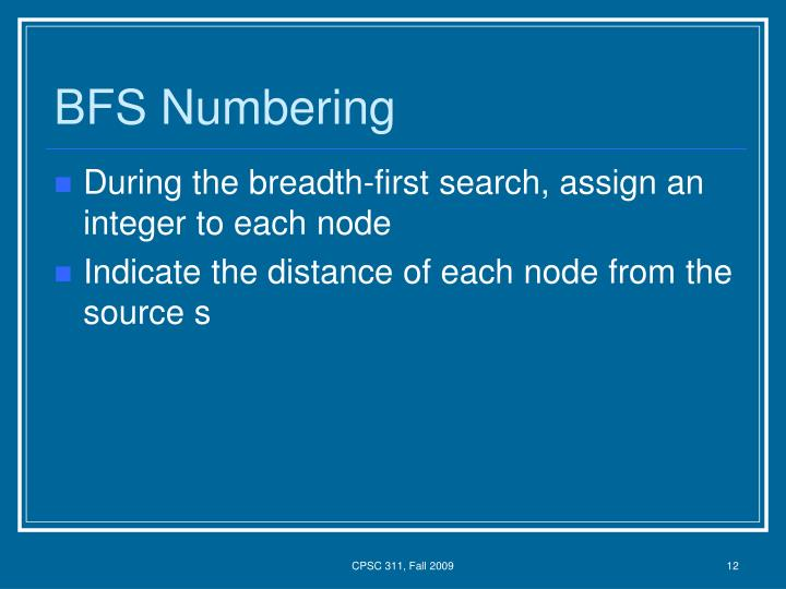 BFS Numbering