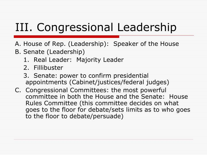 III. Congressional Leadership