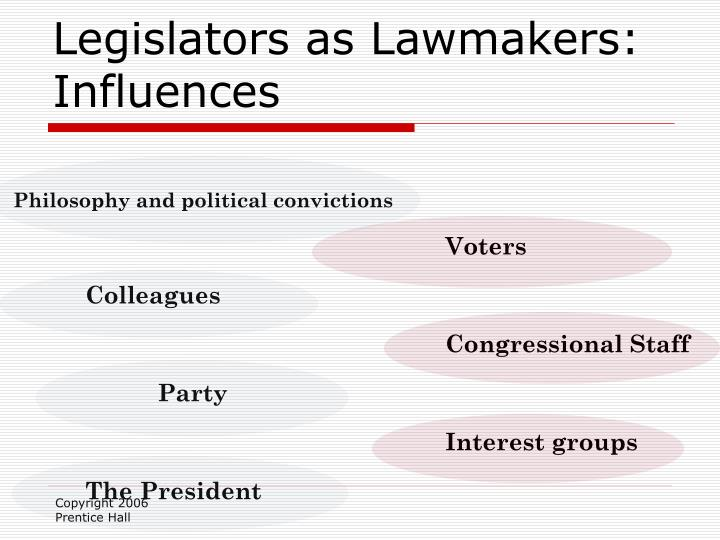 Legislators as Lawmakers: Influences