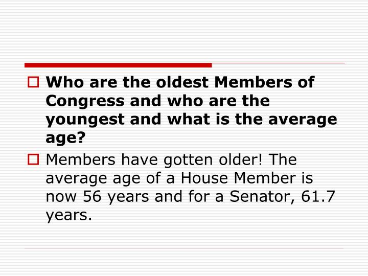Who are the oldest Members of Congress and who are the youngest and what is the average age?