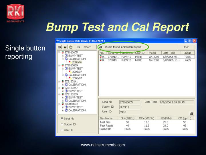 Bump Test and Cal Report