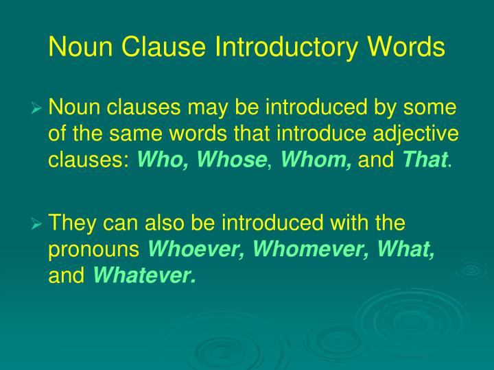 Noun clause introductory words