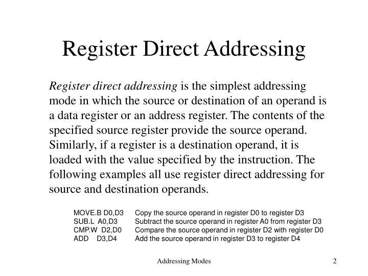 Register Direct Addressing