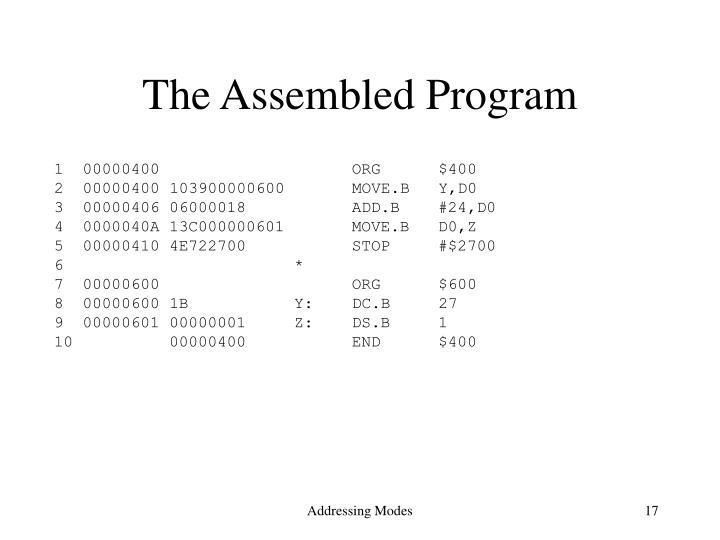 The Assembled Program