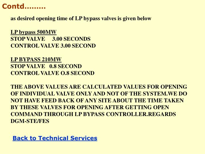 as desired opening time of LP bypass valves is given below