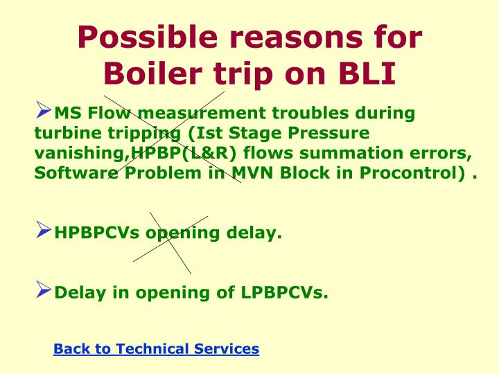 Possible reasons for Boiler trip on BLI