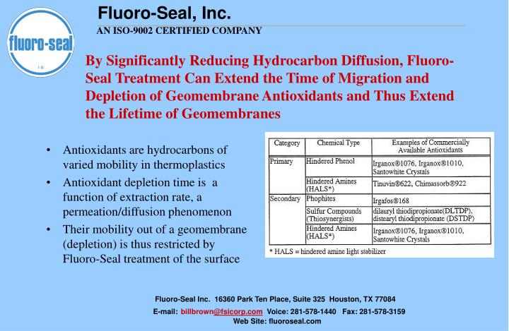 By Significantly Reducing Hydrocarbon Diffusion, Fluoro-Seal Treatment Can Extend the Time of Migration and Depletion of Geomembrane Antioxidants and Thus Extend the Lifetime of Geomembranes
