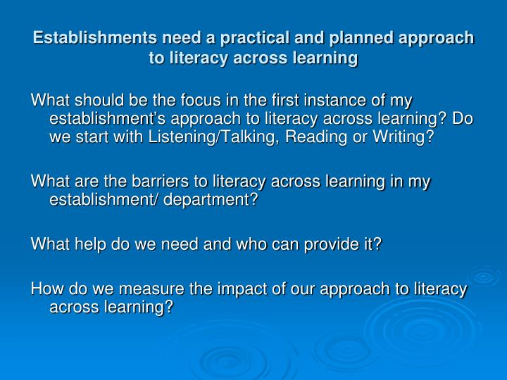 Establishments need a practical and planned approach to literacy across learning